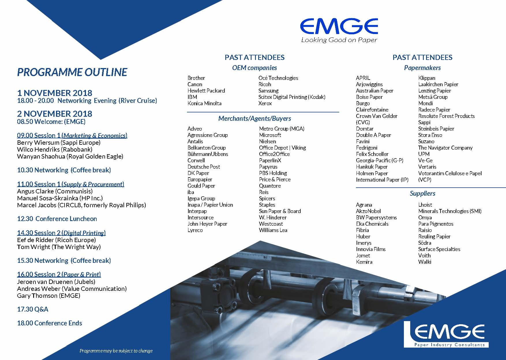 Programme - 2018 EMGE Office & Digital Printing Papers Conference